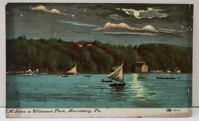 Harrisburg Pa A Scene In Wildwood Park, Sailing By Night, Sailboats Postcard E5