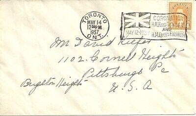 Toronto Canada 1937 King George Queen Elizabeth Coronation cancel