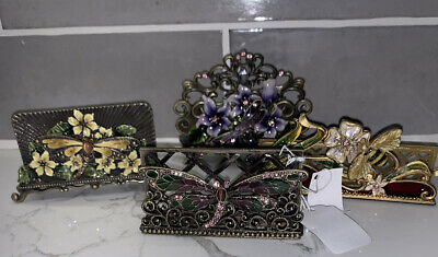 Welfortb Business Card Holder Metalenamel Jeweled Fire Fly And Bee New Lot 4