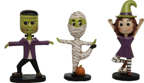 Halloween Yoga Figurines Set of 3 Frankenstein Mummy Witch so cute new