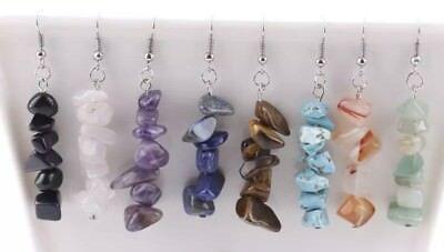 (Natural Stone CHIPS Dangle Drop Earrings HANDMADE Onyx Lapis Amethyst Rose)