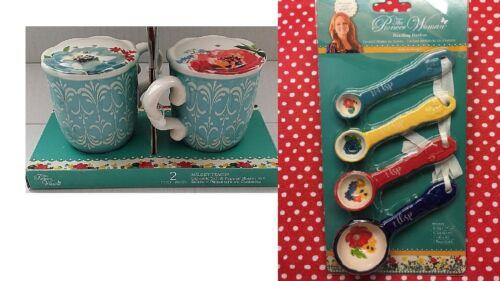 Pioneer Woman Blue Salt Pepper Shaker + 4 Measuring Floral Ceramic Spoons Set