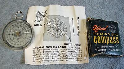 Vintage Official Boy Scouts BSA 1376 Floating Dial Compass w/Box