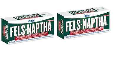 2 BARS Fels-Naptha 04303-01 Heavy-Duty Laundry Bar Soap, 5  oz each bar