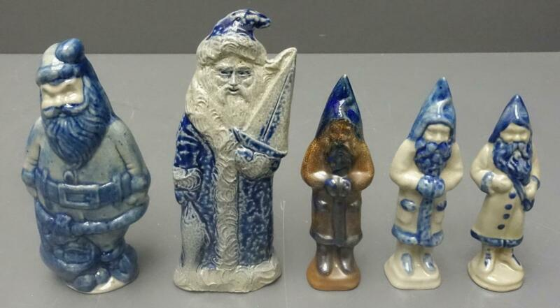 Lot 5 salt glazed Beaumont Brothers Pottery BBP Old World santa Father Christmas