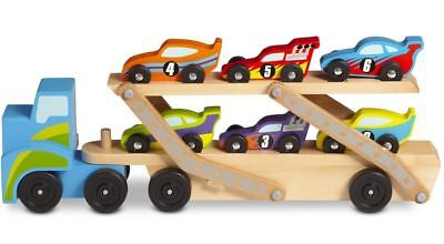 Melissa & Doug RACE CAR CARRIER Wooden Push Along Vehicle Kids Toy/Gift BN