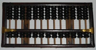 ABACUS Brown Wood Gold Metal Corners Decor Math School Peony Trademark - Math Decorations