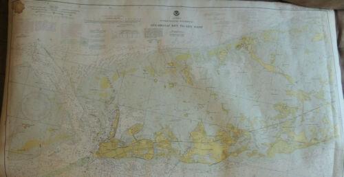 Vintage Lot (2) FLORIDA Nautical Charts ~ Key West to Islamorida Caribbean 1970s