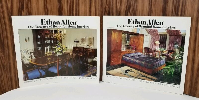 2 Vintage 80s Ethan Allen Furniture Catalog Supplements 1986 & 1987