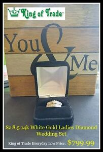 14k White Gold Engagement Ring & Wedding Band - King of Trade