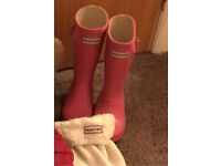 Pink hunter wellies and hunter wellington socks, size 10