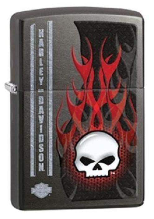 Zippo Harley Davidson Gray Dusk Lighter With Flames & Skull, # 28618, New In Box