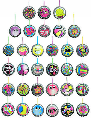 LOT OF 36 BOTTLE CAP NECKLACES, PARTY FAVOR, CARNIVALS, BIRTHDAY GIFTS FAST SHIP