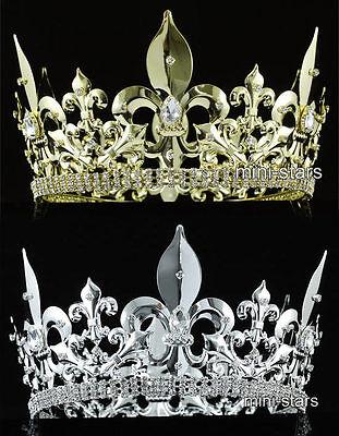 Männer König Krone (Männer Hochzeit Partei kaiserlich Fleur De Lis Silber Gold Kreis König Krone)