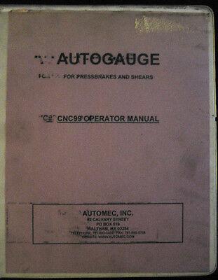 Autogauge Cnc 99 Press Brakesshears Operator Manual