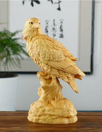 JM015 - 12 x 4.2 x 6 CM Hand Carved Boxwood Carving Figurine - Eagle