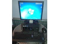 "Complete Desktop PC Computer System WiFi Windows 7 Pro 2GB RAM 250gb HDD 17 "" monitor Bargain"