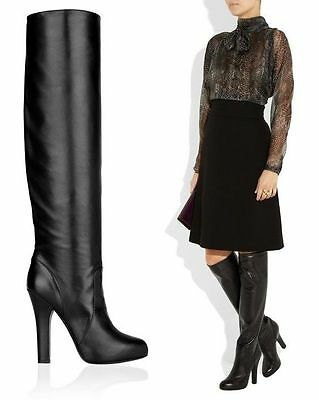 CLASSIC DOLCE & GABBANA OVER-THE-KNEE BLACK LEATHER BOOTS HIGH HEEL 40 / 10
