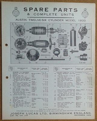 Austin Twelve-Six 12-6  1933  Lucas Parts List 110  Others available