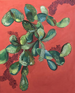 Semi-abstract bright red color landscape cactus oil painting