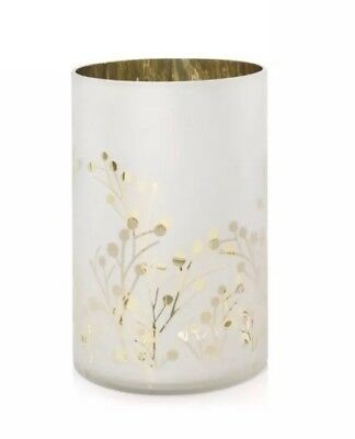 YANKEE CANDLE GREENERY COLLECTION FROSTED WHITE & GOLD CANDLE HOLDER NEW 2018