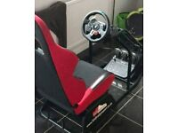 G29 STEERING WHEEL AND FOOT PEDALS AND RAB RALLY SPORT SEAT