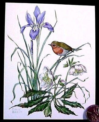 Molly Brett Adorable Little Bird On Stem Blue Iris Flowers  Small  Note Card NEW