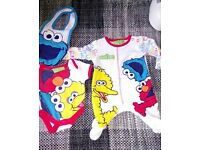 Sesame street mothercare tiny baby babygrow, vest & bib