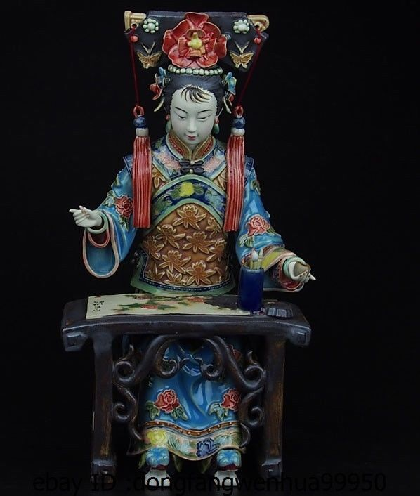 Chinese Pottery Wucai Porcelain Display Woman Ladies Painting Decoration Statue