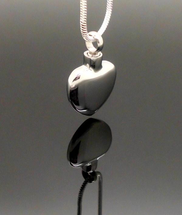 "316L Stainless ""Silver Heart"" Memorial Keepsake Cremation Urn Pendant Jewellery"