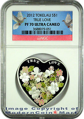 2012 Tokelau True Love Heart Silver Colorized Coin $1 NGC PF70 UC SKU27182 on Rummage
