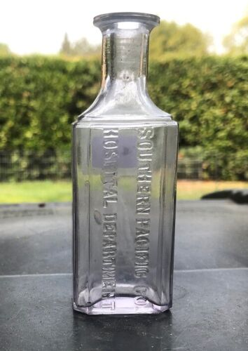 SOUTHERN PACIFIC CO. HOSPITAL DEPARTMENT CALIFORNIA  DRUG BOTTLE RARE