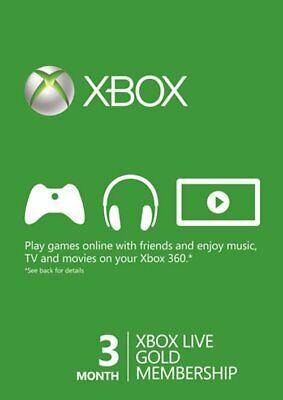 XBOX LIVE 3 MONTH GOLD MEMBERSHIP Code Key XBOX 360 XBOX ONE.