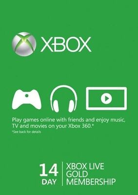Xbox Live 14 Day Gold Trial Membership 14 Days 2 Weeks Xbox One Xbox 360 D Code for sale  Shipping to United States