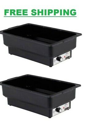 2 Pack Electric Fuel Chafer Chafing Dish Steam Full Food Water Pan Table Warmer