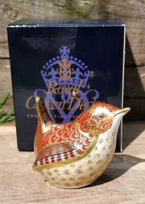 Royal Crown Derby 'JENNY WREN' Paperweight. Gold Stopper. Excellent Condition.