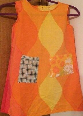 ORPHAN DRESS/COSTUME FOR PLAYS. Sz 5 .Homemade/ Good Cond. Orange