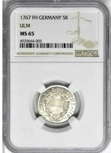 1767 FH German States Ulm 5 Kreuzer, NGC MS 65, KM 126, Wide Shield Finest @ NGC