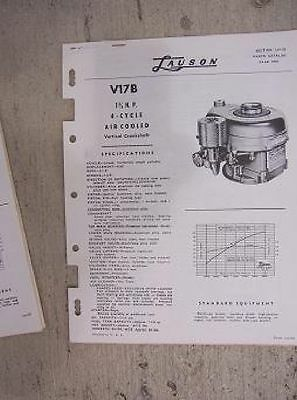 1950s Lauson Engine Parts Manual V17b 1 34 Hp 4 Cycle Vertical Crankshaft K