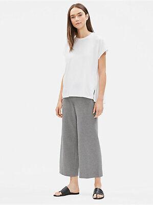 Eileen Fisher Heathered Organic Cotton Jersey Wide Leg Cropped Pants MOON  M  Jersey Wide Leg Cropped Pants