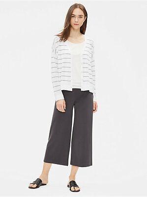 Eileen Fisher Cotton Stretch Jersey Wide Leg Cropped Pants Graphite Gray  Sz XS  Jersey Wide Leg Cropped Pants