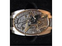 STAR TREK Belt Buckle Franklin MINT with 22k Gold