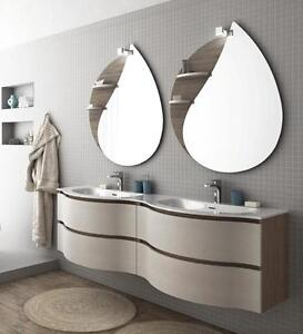 Arredo bagno mobile urban comp8 doppio lavabo tranche 39 rovere scuro e bco ebay - Mobile bagno doppio lavabo 140 cm ...