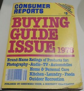Comsumer Reports Buying Guide Issue 1978