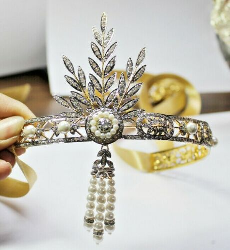 17.41cts ROSE CUT DIAMOND PEARL ANTIQUE VICTORIA LOOK 925 SILVER TIARA