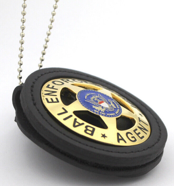 Bail Enforement Agent Police Badge Must Have With Leather Holder Gold