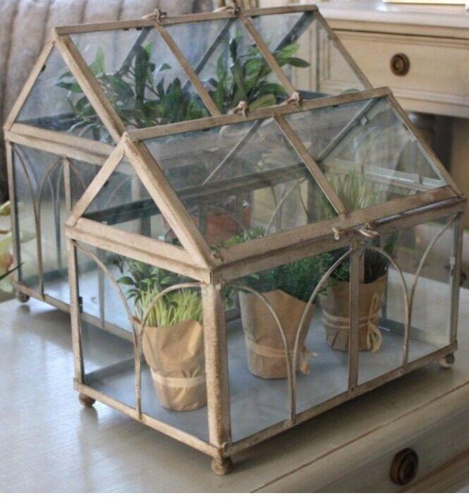 India jane glass house terrarium candle lantern brand new