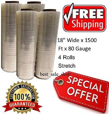 4 Plastic Shrink Hand Stretch Wrap Roll 18 X 1500 80 Gauge Film Clear Pvc Body