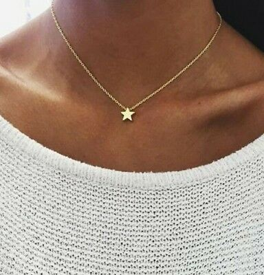 Small Charm Necklace (Tiny Mini Star Choker Necklace, Delicate Small Charm & Chain, Golden)