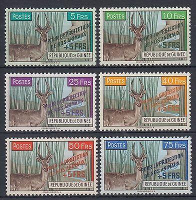 GUINEA GUIN E 1961 MI 86 91 TIERE ANIMALS RIEDBOCK REEDBUCK OVPT SQ4612